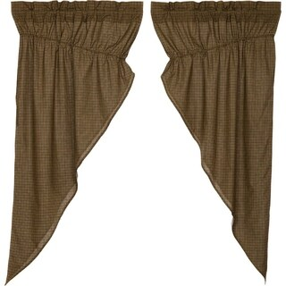 Green Rustic Curtains VHC Tea Cabin Green Plaid Prairie Panel Pair Rod Pocket Cotton Plaid - Prairie Panel 63x36