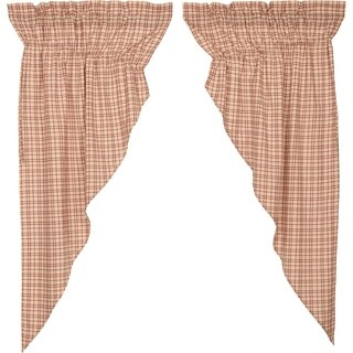 White Rustic Curtains VHC Tacoma Prairie Panel Pair Rod Pocket Cotton Plaid - Prairie Panel 63x36