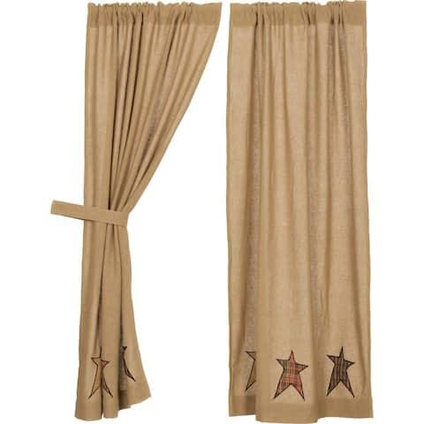 Tan Primitive Curtains VHC Stratton Burlap Star Panel Pair Rod Pocket Cotton Star Appliqued Cotton Burlap - 63x36