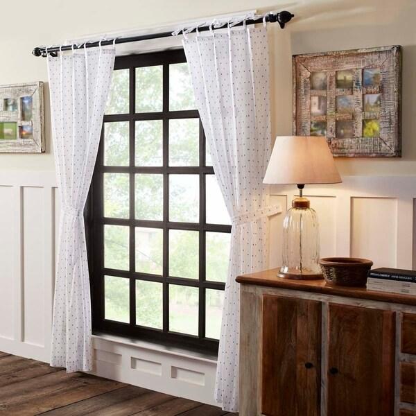 Shop White Farmhouse Curtains VHC Malyn Panel Pair Tie Top