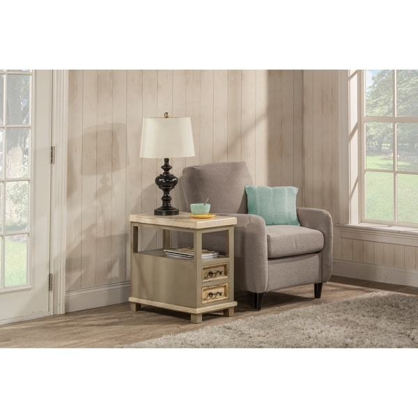 Hillsdale Furniture Larose End Table , White and Gray