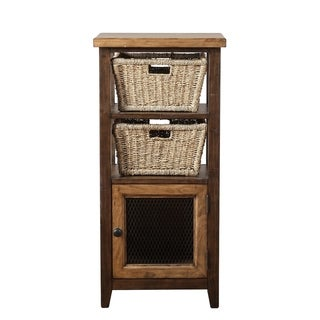 Hillsdale Furniture Tuscan Retreat Cafe Brown Basket Stand with 2 Baskets