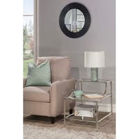 Hillsdale Furniture Corbin Step Table with Three Glass Shelves, Silver