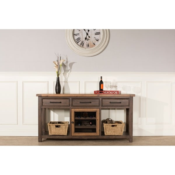 Hilale Furniture Tuscan Retreat Sofa Table With Wine Rack Brown