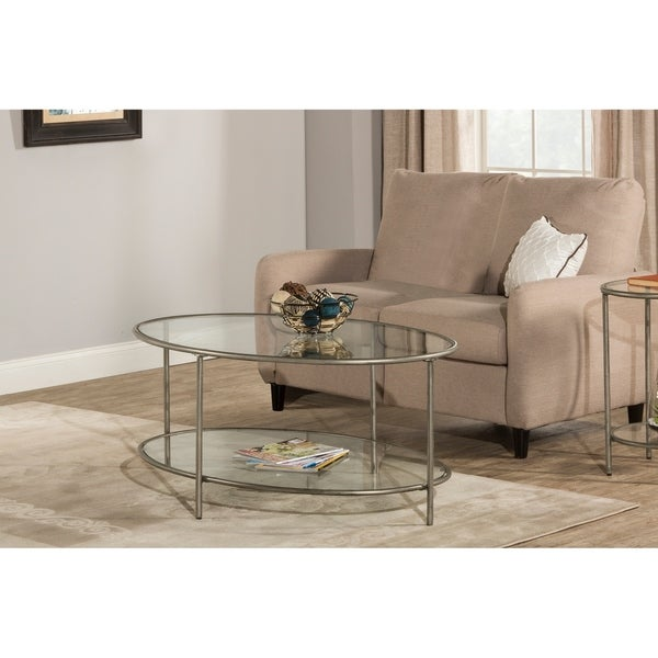 Charmant Hillsdale Furniture Corbin Coffee Table With Two Glass Shelves, Silver