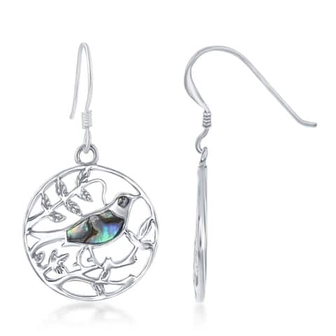 La Preciosa Sterling Silver Natural Abalone Stone on Branch Circle Earrings