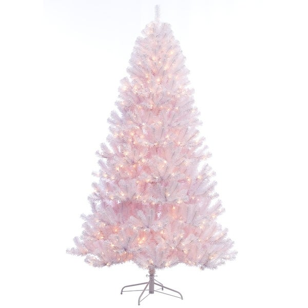 d9eb78b3896 Shop Puleo International 7.5 ft. Pre-lit Northern Fir White Artificial  Christmas Tree with 600 UL listed Clear Lights - Free Shipping Today -  Overstock - ...