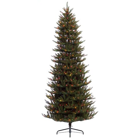 Puleo International 7.5 ft. Pre-lit Slim Fraser Fir Artificial Christmas Tree with 500 UL listed Multi LED Lights