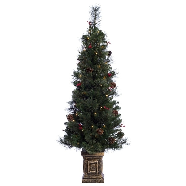 Potted Artificial Christmas Tree: Puleo International 4.5 Ft. Pre-lit Potted Artificial