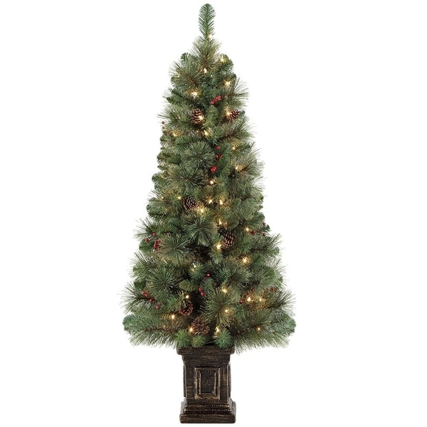 Potted Artificial Christmas Tree: Shop Puleo International 4.5 Ft. Pre-lit Potted Artificial