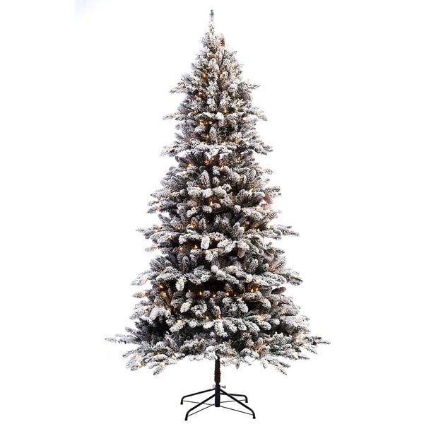 Puleo International 7 Ft Pre Lit Flocked Bennington Fir Artificial Christmas Tree 400 Ul Listed Clear Lights