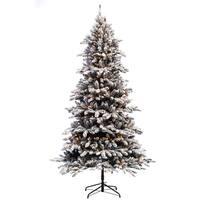Puleo International 7 ½ ft Pre-lit Flocked Bennington Fir Artificial Christmas Tree 400 UL listed Clear Lights