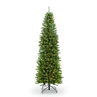 Puleo International 9 ft. Pre-lit Fraser Fir Pencil Artificial Christmas Tree 550 UL listed Clear Lights