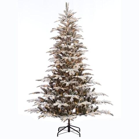 Puleo International 7 1/2 ft. Pre-lit Aspen Green Fir Flocked Artificial Christmas Tree 700 UL listed Clear Lights