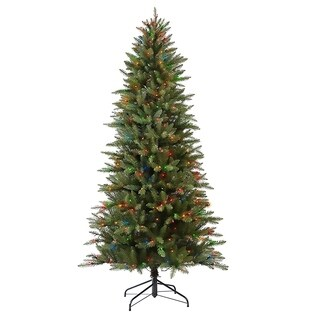 Puleo International 7 1/2 ft. Pre-lit Fraser Fir Pencil Artificial Christmas Tree 350 UL listed Multi Lights