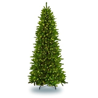 Puleo International 12 Pre-lit Slim Fraser Fir Artificial Christmas Tree 1200 UL listed Clear Lights
