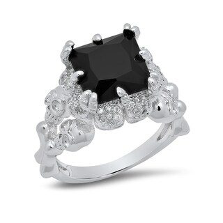 Piatella Ladies White Gold Tone Onyx Skull Queen Ring