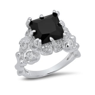 Piatella Ladies White Gold Tone Onyx Skull Queen Ring