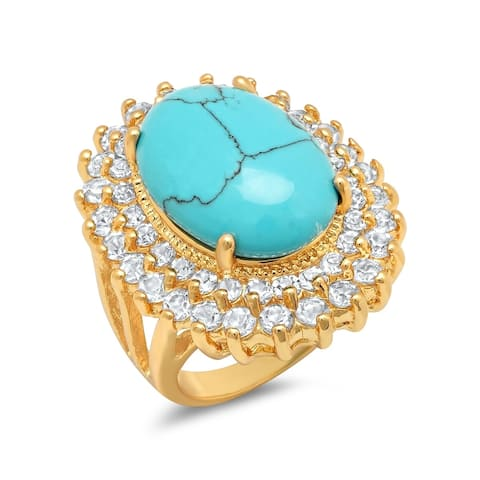 Piatella Ladies Brass Cubic Zirconia and Genuine Turquoise Cocktail Ring