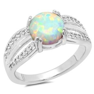 Piatella Ladies White Gold Tone Opal Engagement Ring
