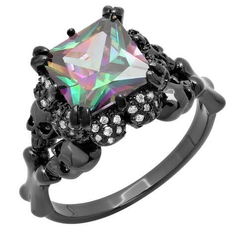 Piatella Ladies Black IP Cubic Zirconia Skull Queen Ring