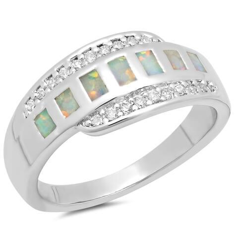 Piatella Ladies White Gold Tone Fire Opal Band Ring