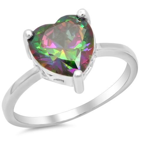 Piatella Ladies White Gold Tone Topaz Heart Ring