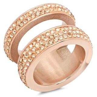 Piatella Ladies Rose Gold Tone Pink Crystal Pave Double Ring