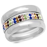 Piatella Ladies Set of 3 Multi-Colored Cubic Zirconia Band Rings in 2 Colors