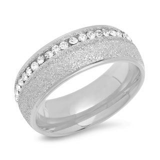 Piatella Ladies Stainless Steel Glitter and Cubic Zirconia Band Ring in 3 Colors