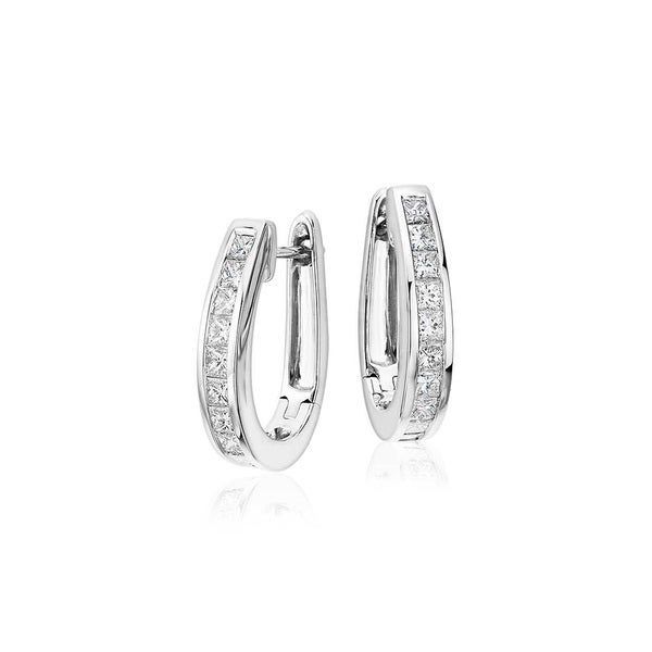 White Gold Plated Princess Cut Cubic Zirconia Hoop Earrings