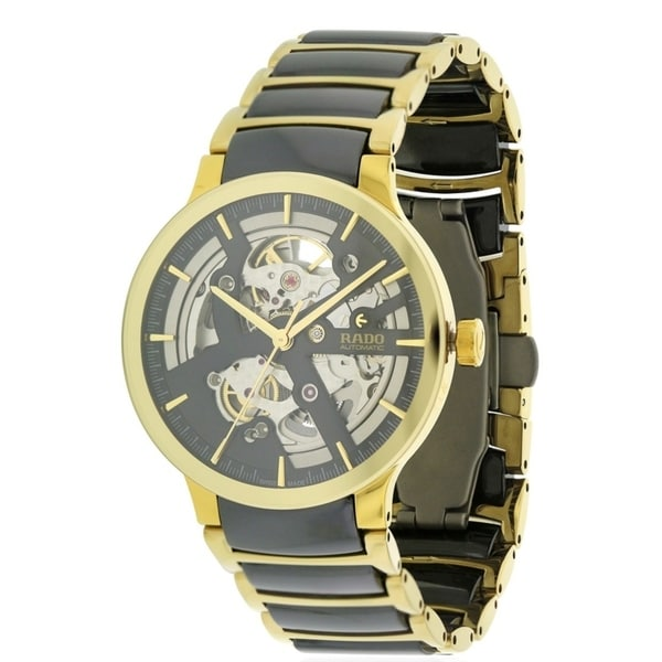 d91570baae1b Shop Rado Centrix Gold-Tone Steel and Ceramic Automatic Mens Watch R30180162  - Free Shipping Today - Overstock - 17847335
