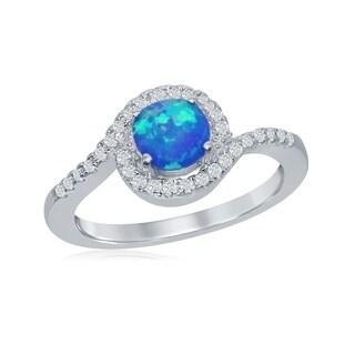 La Preciosa Sterling Silver Blue Opal Stone Pave Cubic Zirconia Halo Ring - Aqua