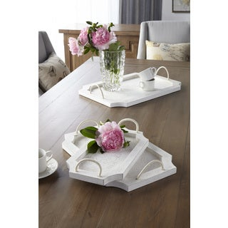 Sagebrook Home White Wood Tray Set with Handles (Set of 3)