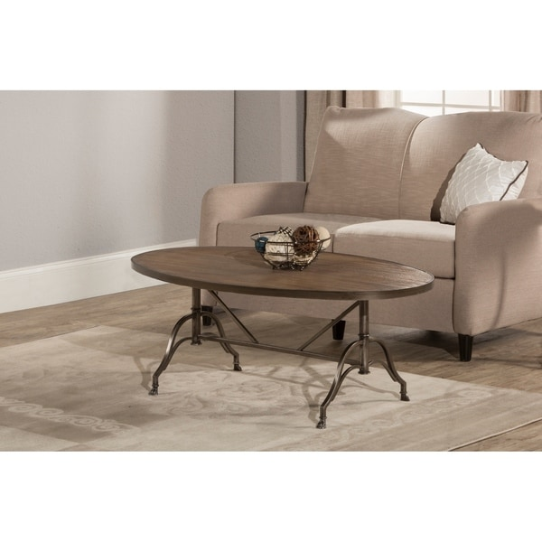 Hillsdale Furniture Clairview Oval Coffee Table, Brown-Gray