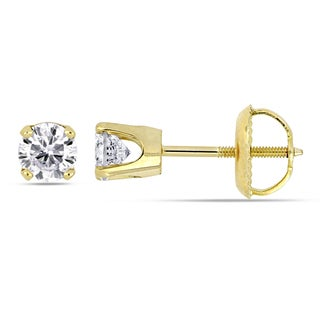 Miadora Signature Collection 14k Yellow Gold 1/2ct TDW Diamond Screw-back Solitaire Stud Earrings
