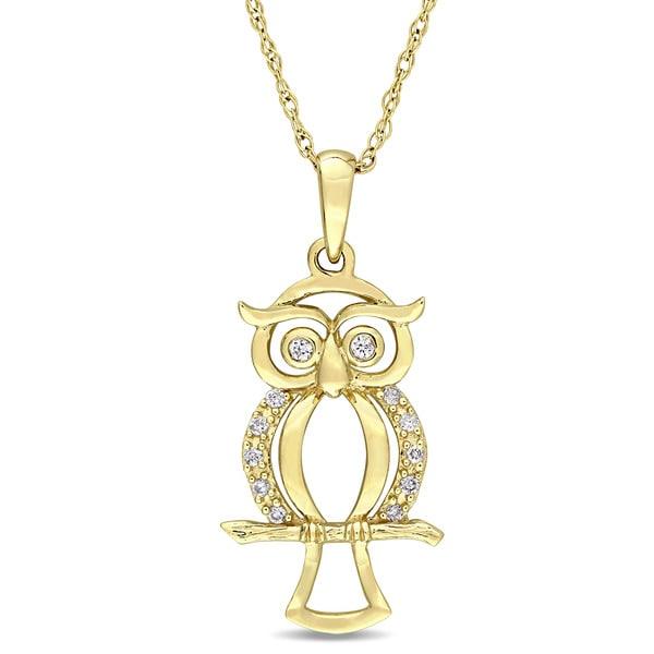 aa8543e48 Shop Miadora 10k Yellow Gold Diamond Accent Dangling Owl Necklace ...