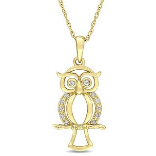 Miadora 10k Yellow Gold Diamond Accent Dangling Owl Necklace - White