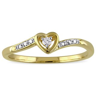 Miadora Yellow Plated Sterling Silver Diamond Accent Heart Promise Ring