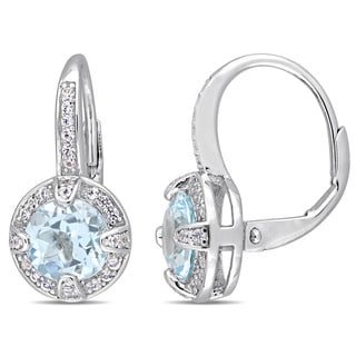 Miadora Sterling Silver Sky-Blue Topaz and White Sapphire Halo Leverback Earrings