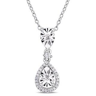 Miadora Sterling Silver 1/5ct TDW Diamond Teardrop Halo Drop Necklace