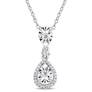 Miadora Sterling Silver 1/5ct TDW Diamond Teardrop Halo Drop Necklace