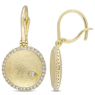 Miadora Signature Collection 14k Yellow Gold 3/8ct TDW Diamond Textured Dome Dangle Earrings