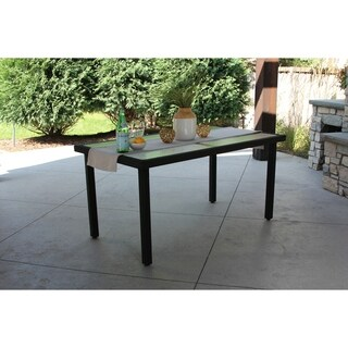 Gracewood Hollow Macinghi Single Rectangular Black Wicker Dining Table w/ Rec'd Glass & Storage Cover