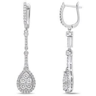 Miadora Signature Collection 14k White Gold 1-3/8ct TDW Diamond Vintage Teardrop Dangle Earrings