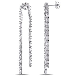 Miadora Signature Collection 14k White Gold 3-1/4ct TDW Diamond Dangle Earrings