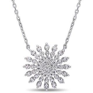 Miadora Signature Collection 14k White Gold 3/4ct TDW Diamond Sunburst Station Necklace