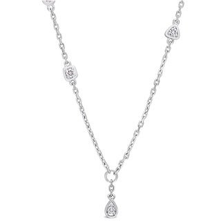 Miadora Signature Collection 14k White Gold 1/3ct TDW Diamond Station Y-Necklace