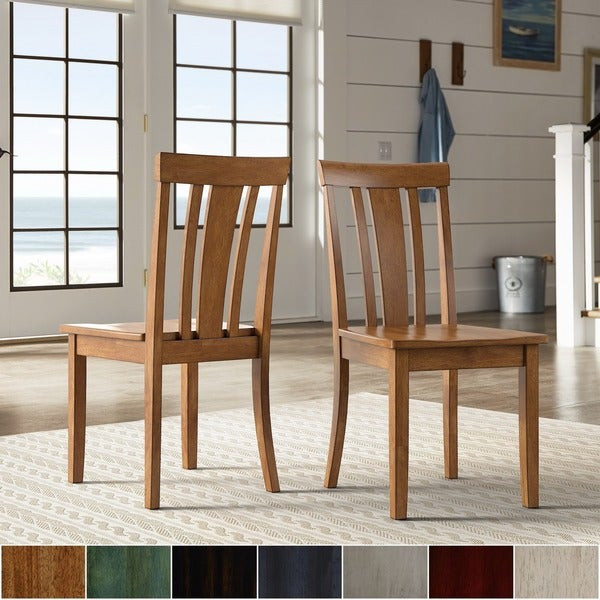 Wilmington II Slat Back Wood Dining Side Chairs by iNSPIRE Q Classic (Set of 2)