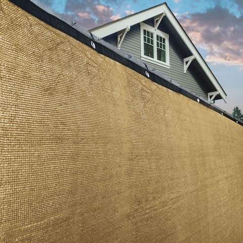 ALEKO 6'x25' Beige Fence Privacy Screen Mesh Fabric With Grommets - 6 feet tall x 25 feet long